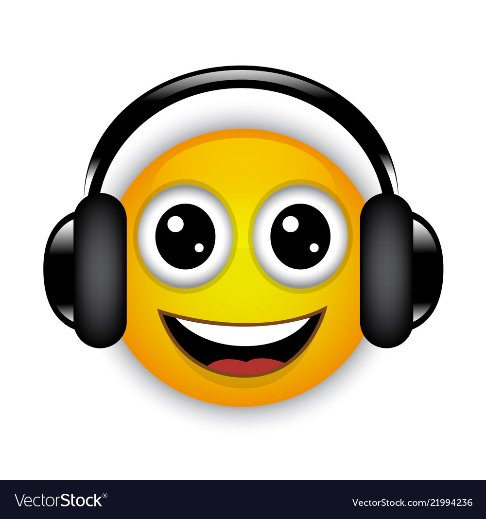 Cheerful musical emoticon with headphones