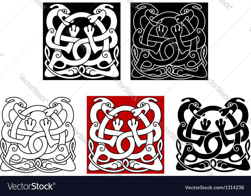 Dogs with celtic ornament vector image