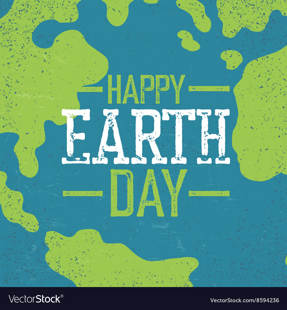 Grunge Earth Day Logo Stamp letters Earth day
