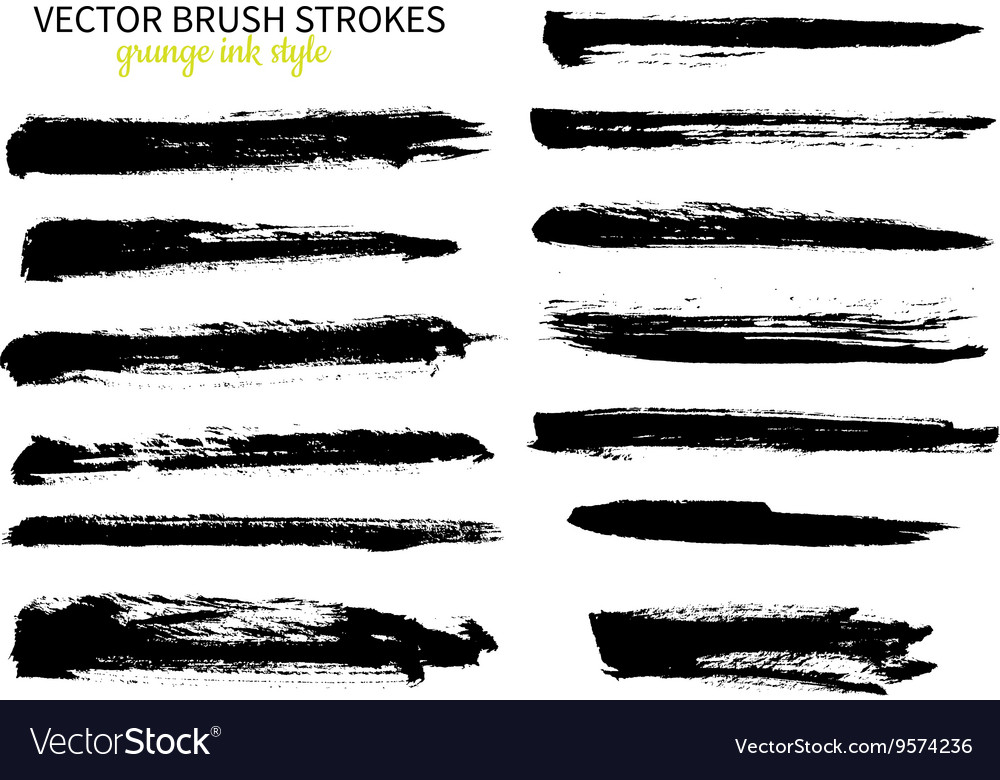 Grunge ink brush stroke set abstract freehand