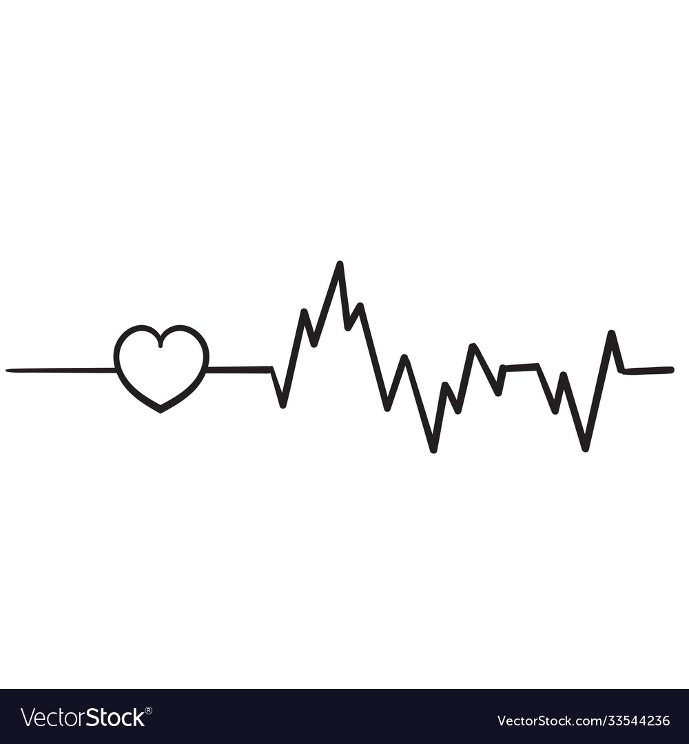 Hand drawn doodle heart beat icon