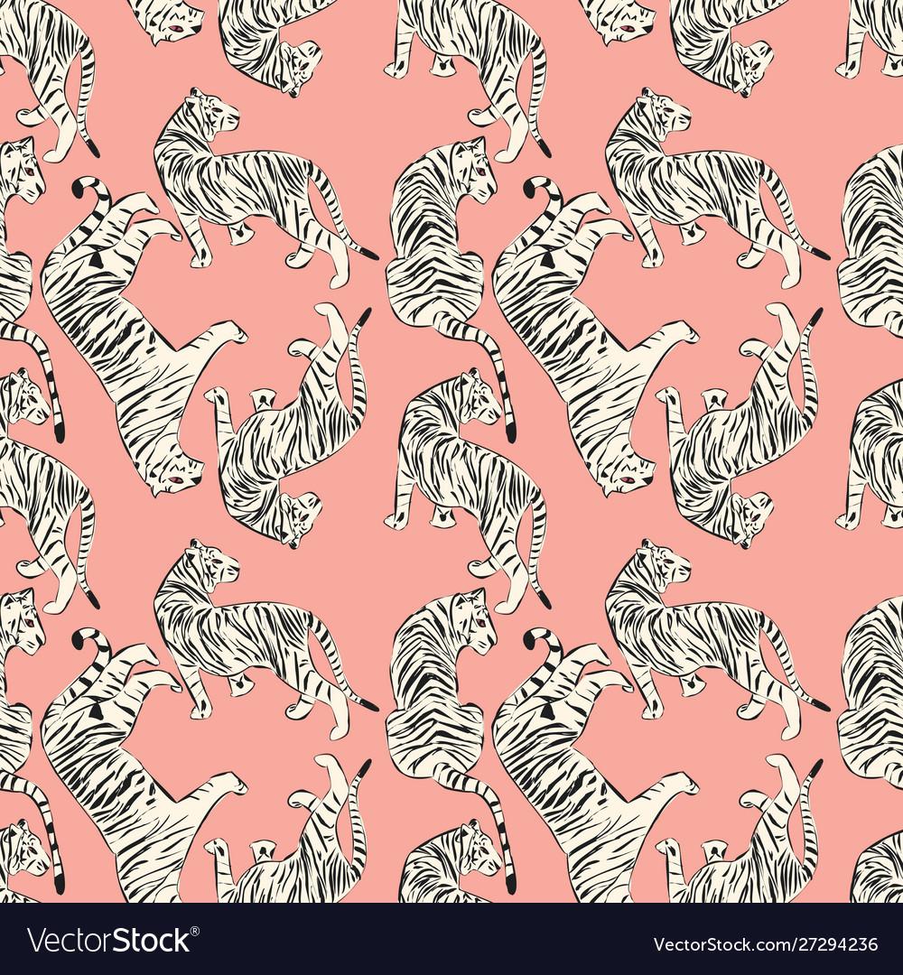 Hand drawn tiger seamless pattern big cats