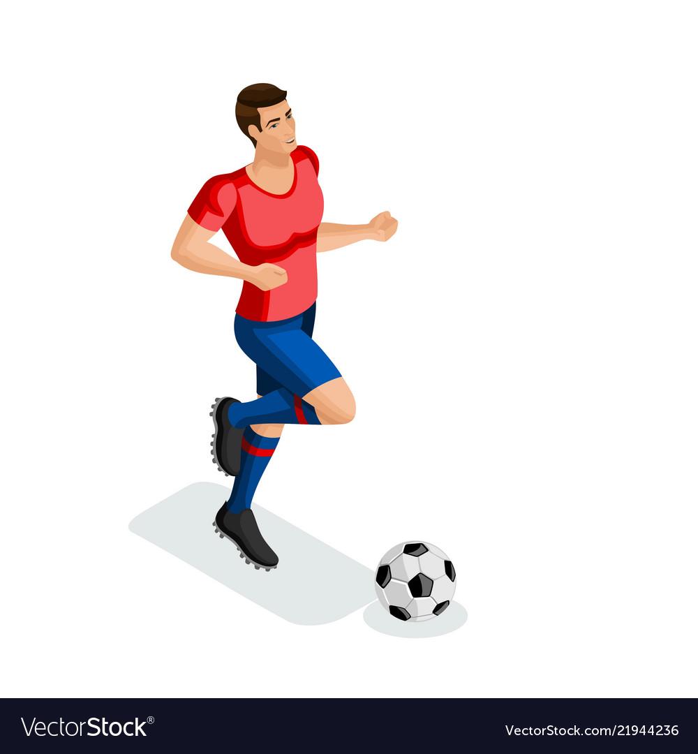 Isometric a man plays football training running