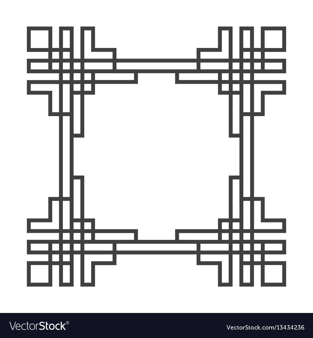 Square asian retro frame in black and white vector image