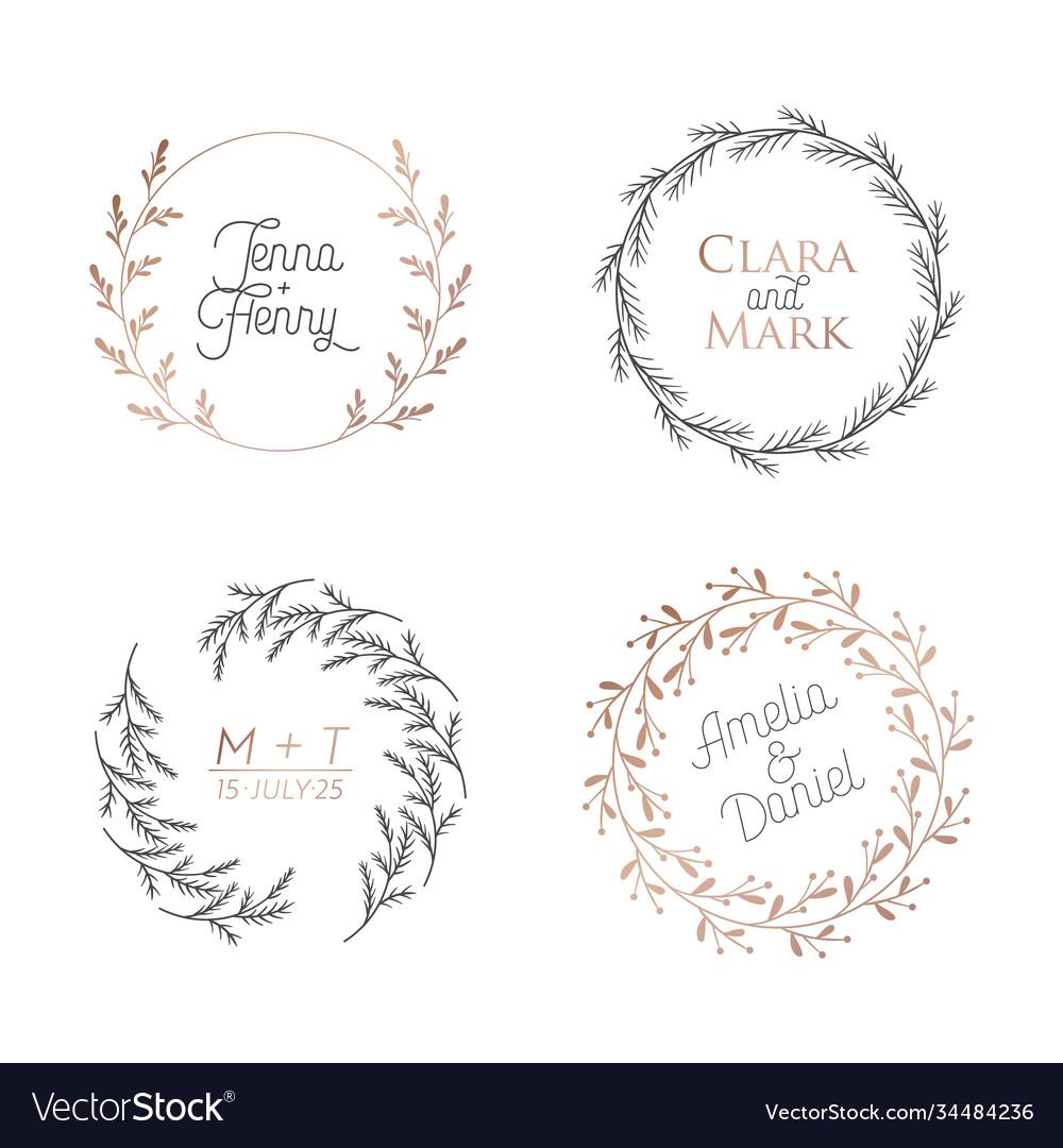Wedding floral wreaths circle botanical laurels