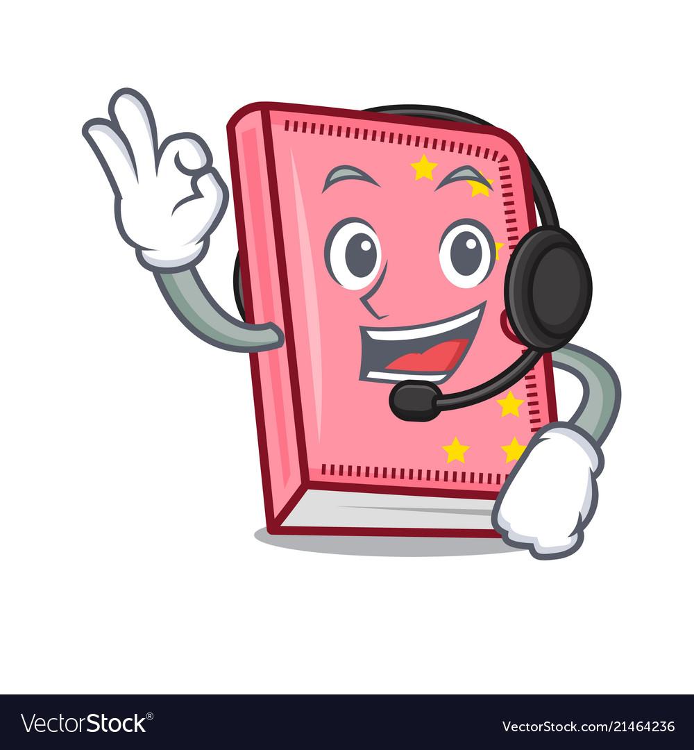 With headphone diary mascot cartoon style