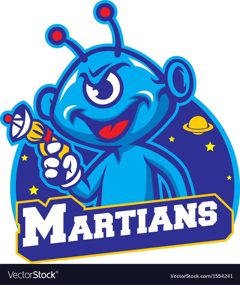 Blue martian hold a laser gun vector image