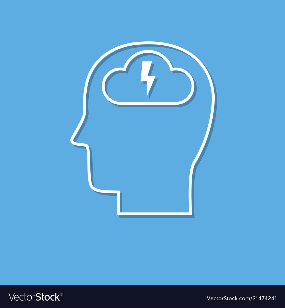 Brainstorming head icon cut from white paper