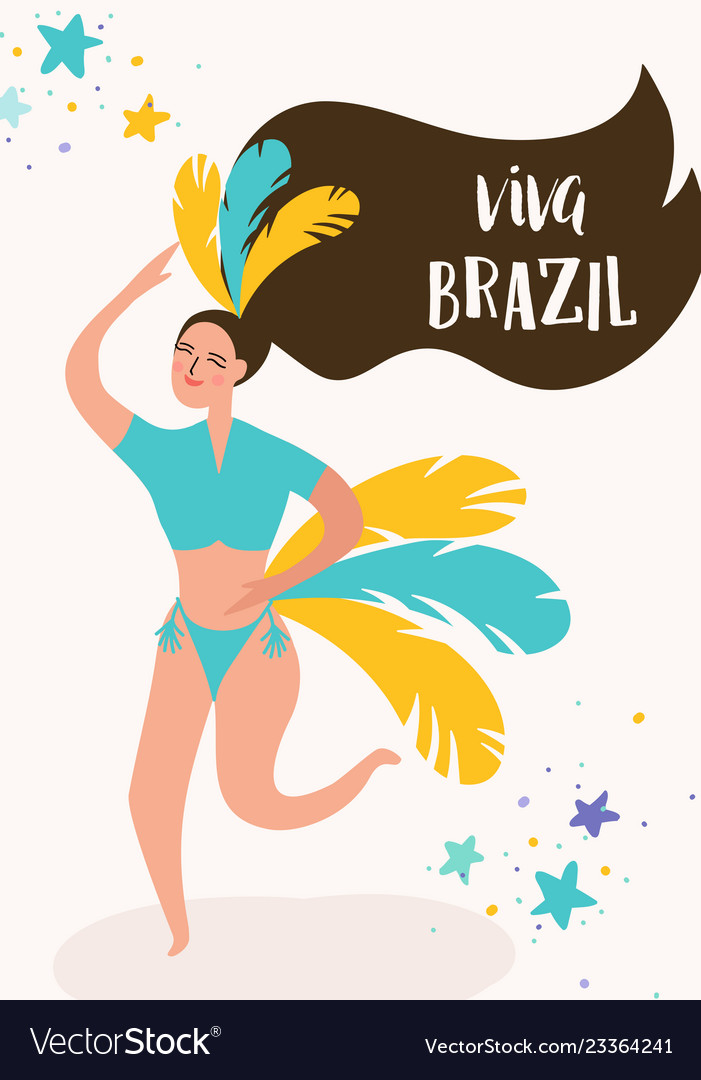 Brazil carnival banner with dancing woman rio
