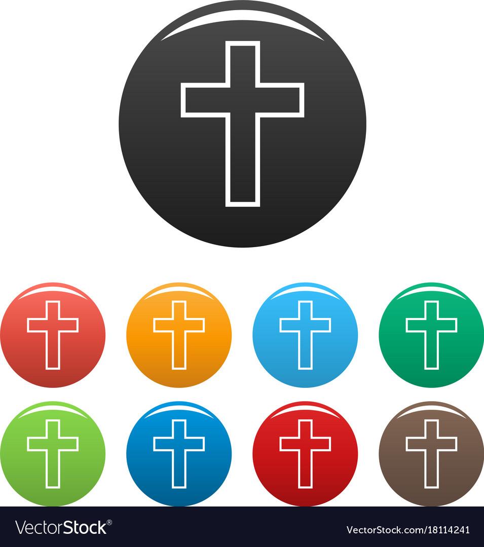 Catholic cross icons set