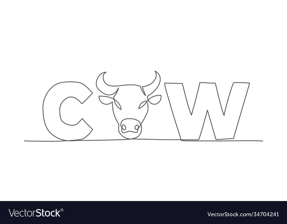 Cow one line drawing in line style