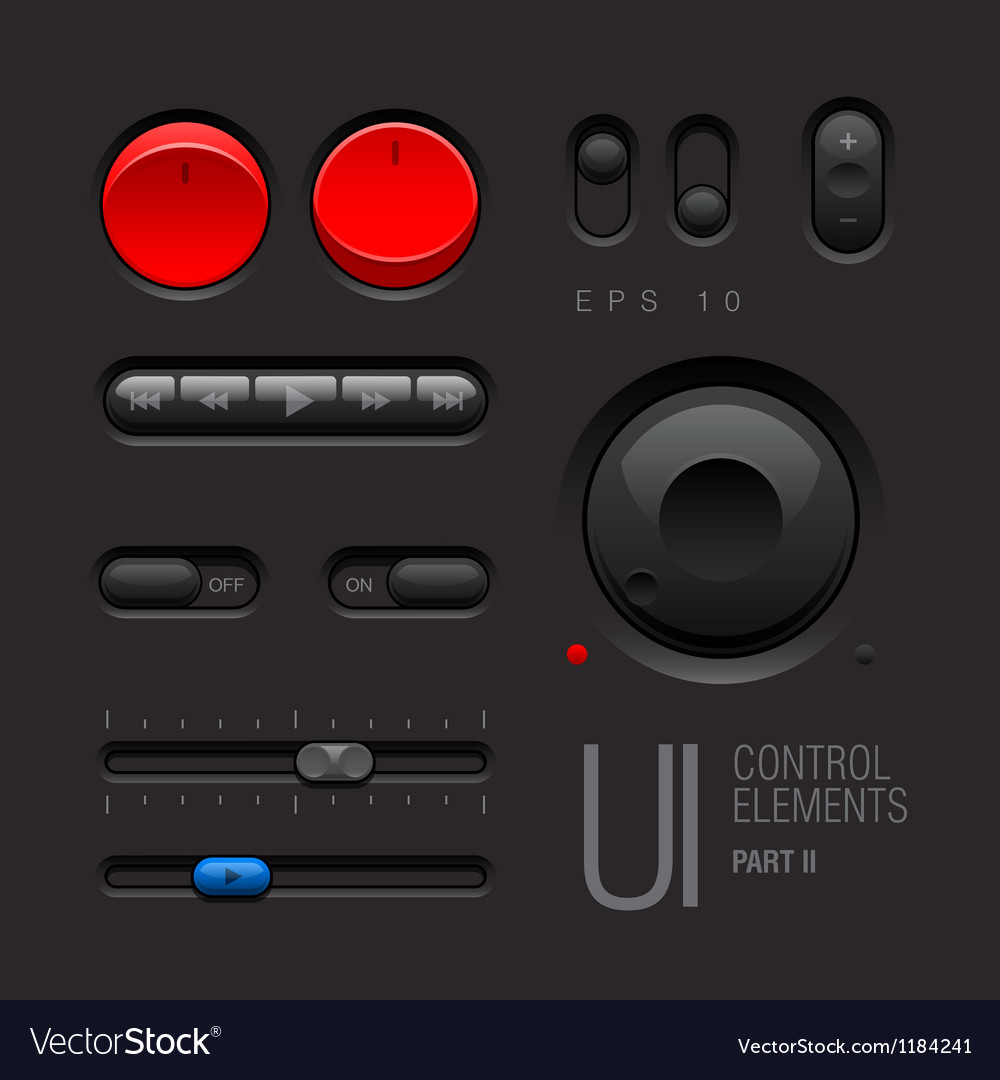 Dark Web UI Elements Buttons Switches