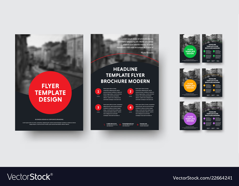 Design of black a4 flyers with round elements and