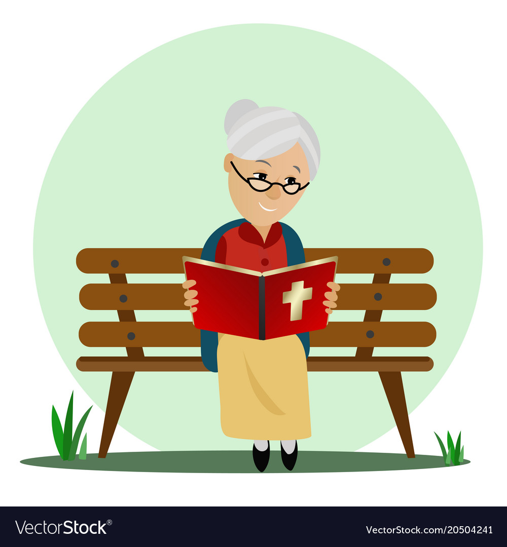elderly woman reads the bible while sitting on a vector image