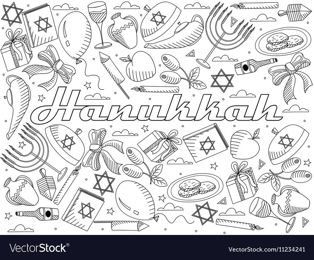Hanukkah line art design