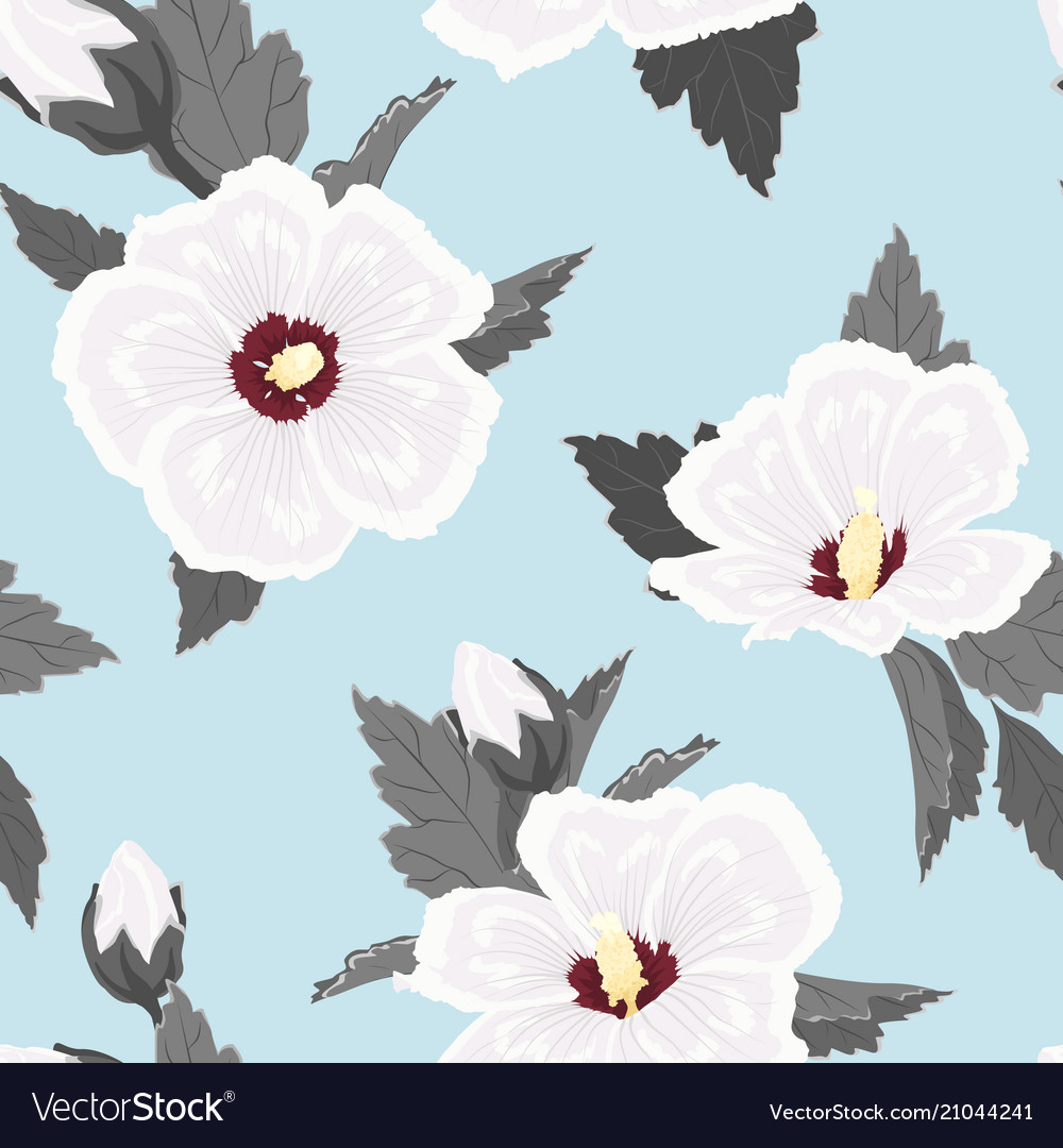 Hibiscus flowers seamless pattern white blue grey
