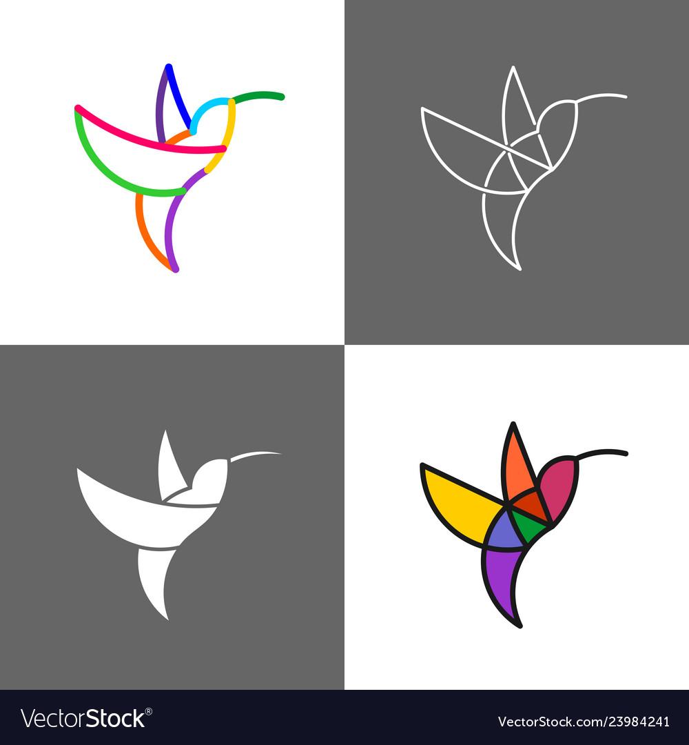 Hummingbird colorful line style rainbow logo set