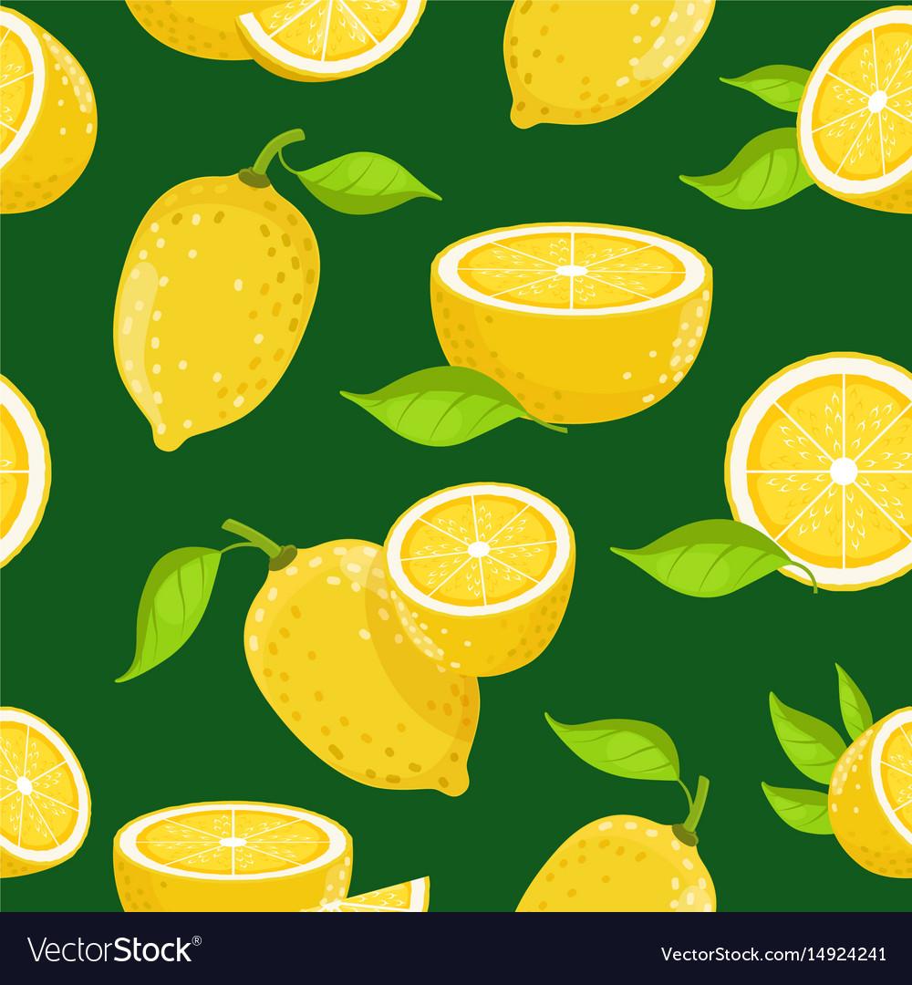 Lemon and different slices on dark background