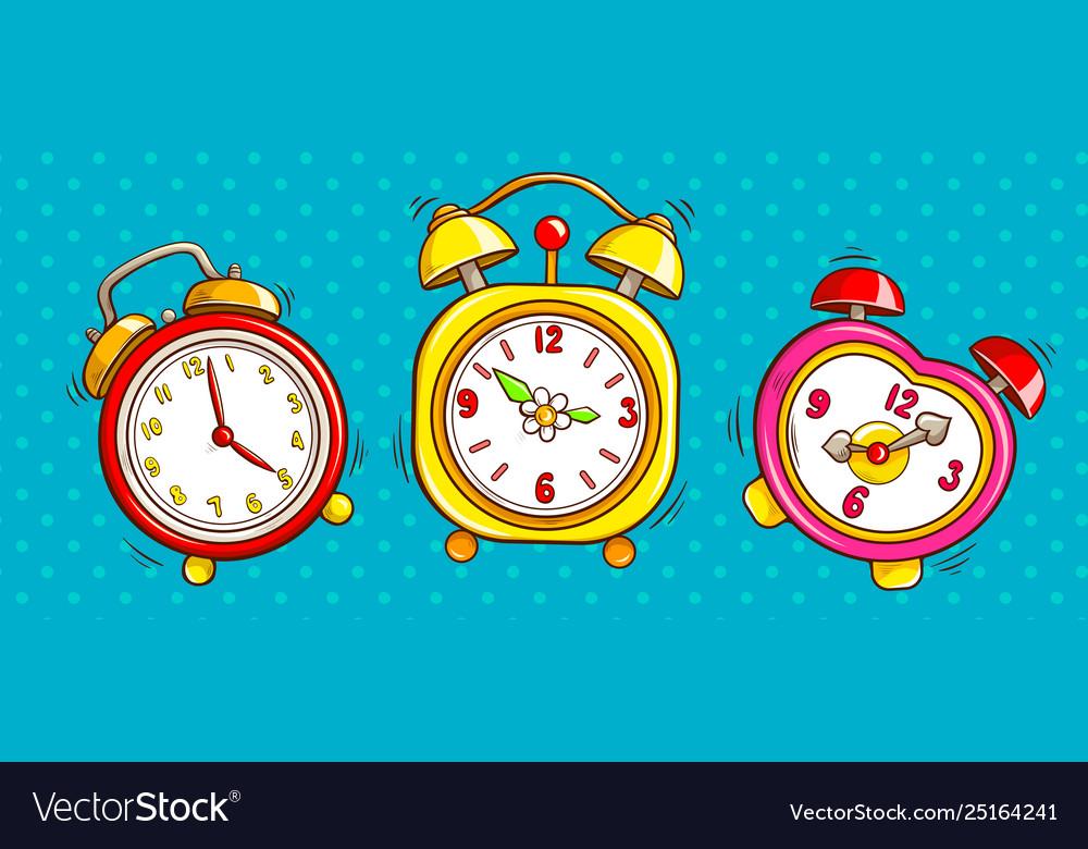Pop art alarm clocks set on half tone background