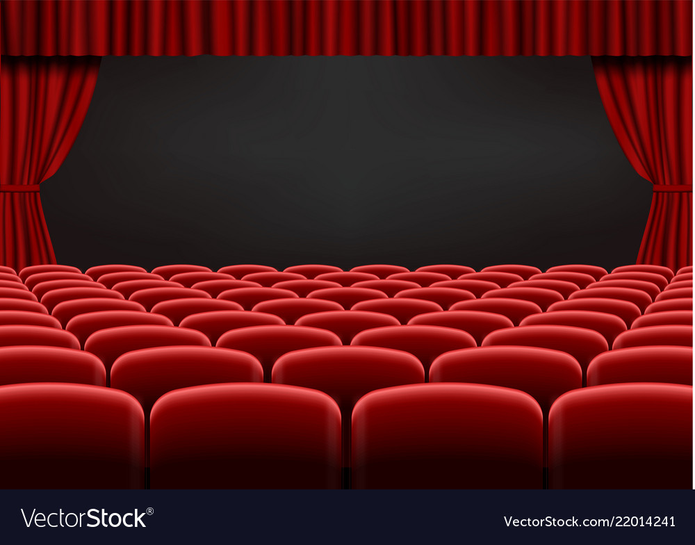 Red open curtain with seats in theater velvet fab