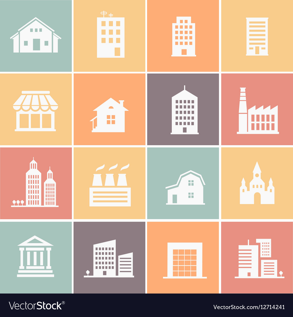 Set of various buildings web icons