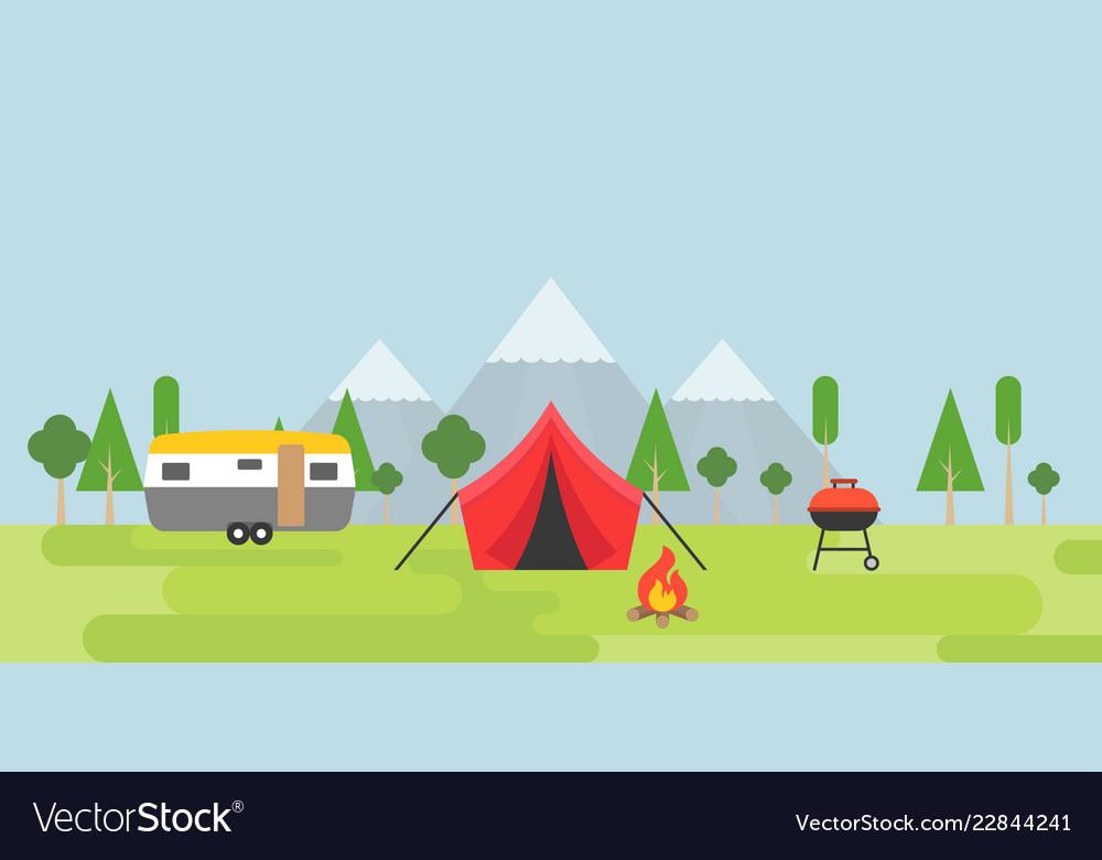 Summer camping tent camper barbecue and bonfire