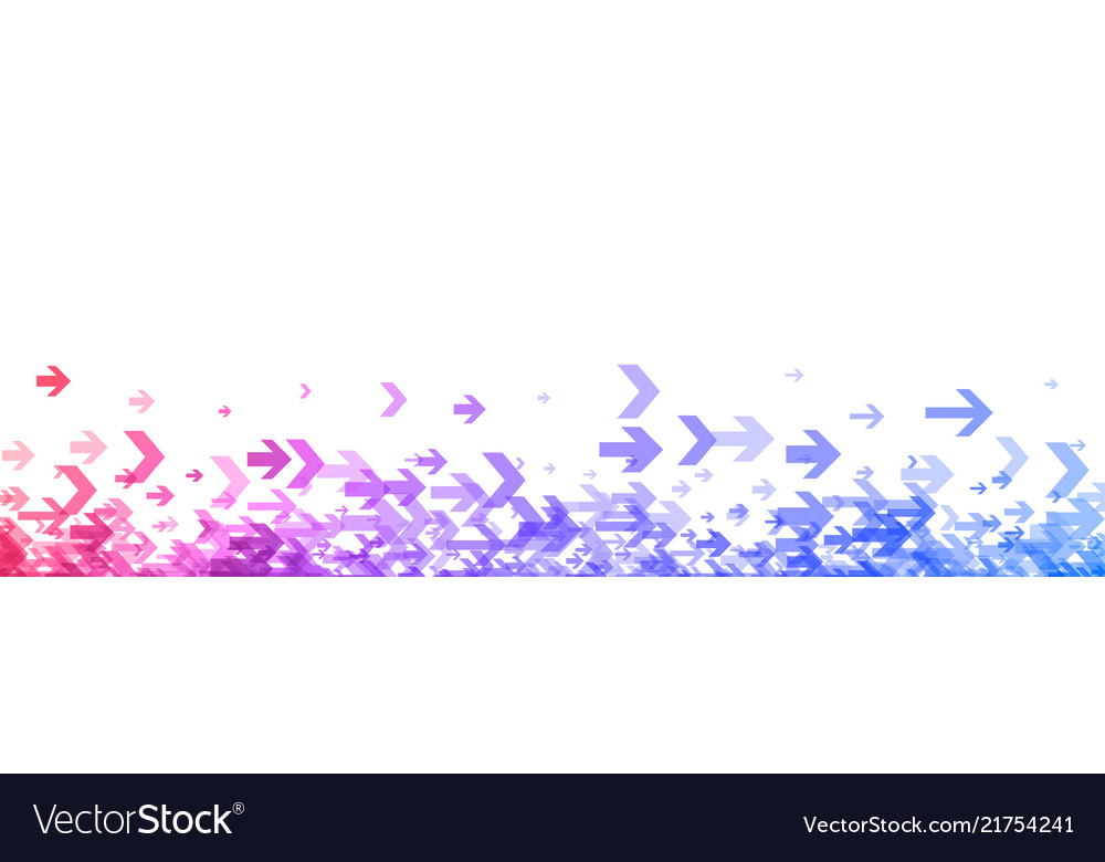White banner with colorful spectrum arrows