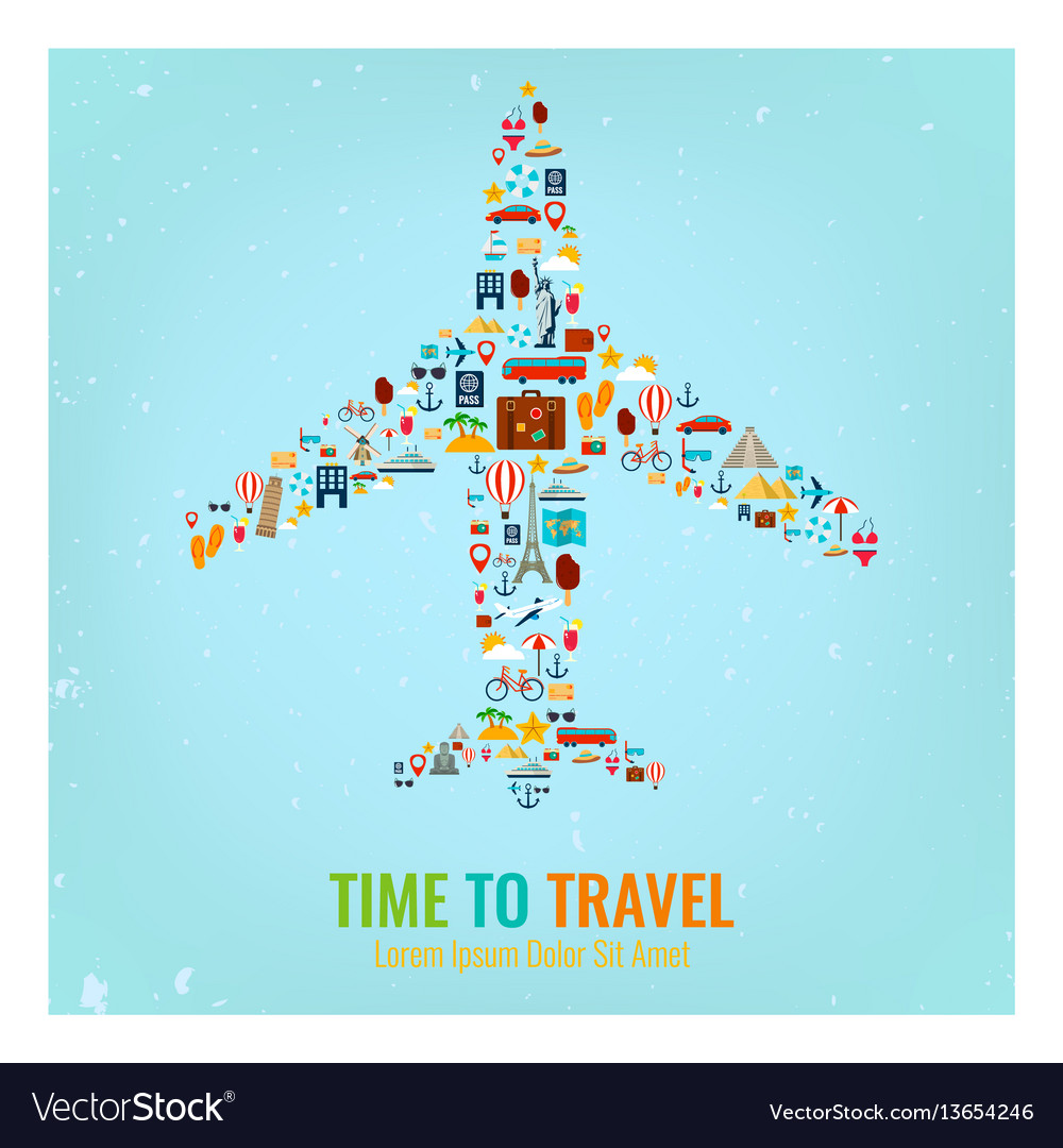 Airplane silhouette with travel flat icons travel