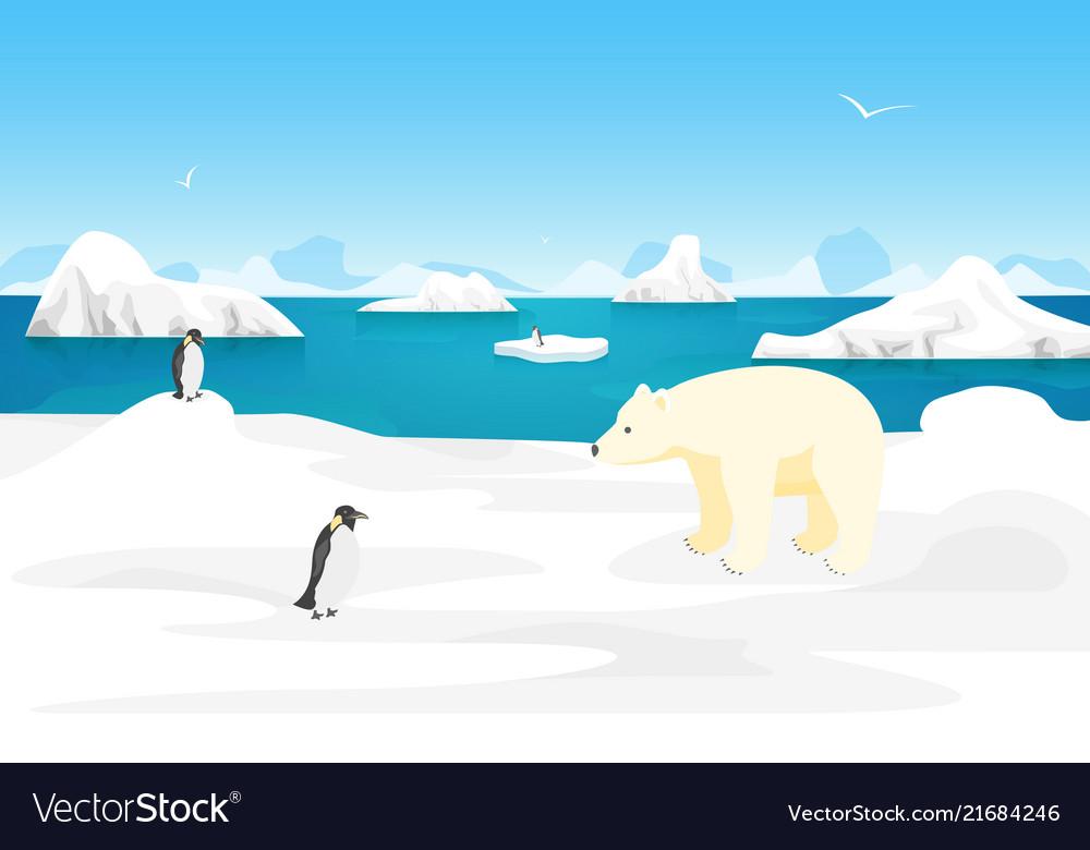 Cartoon arctic ice landscape outdoor scene
