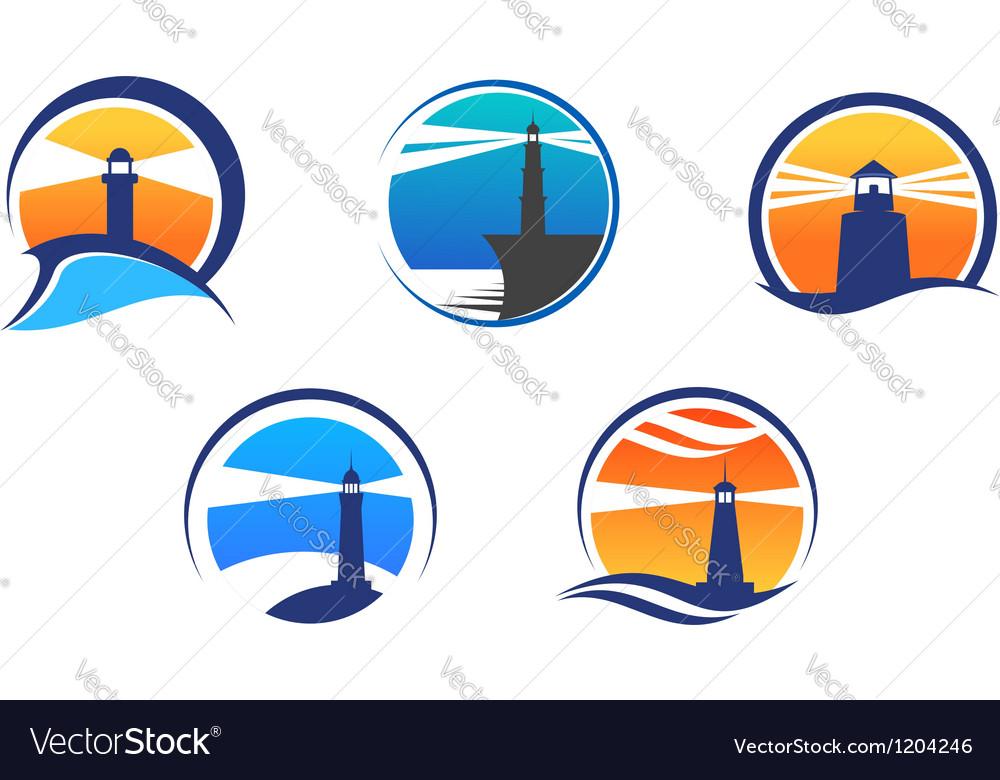 Colorful lighthouse symbols set vector image
