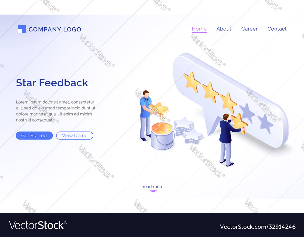 Landing page star feedback model
