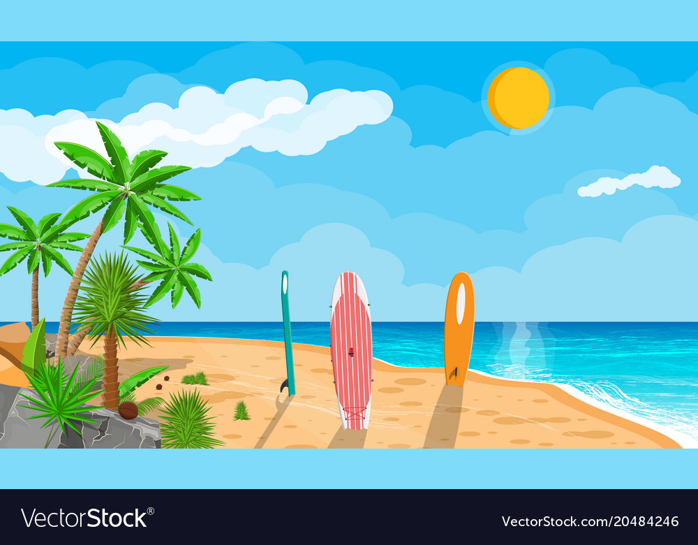 Landscape of palm tree on beach surfboard