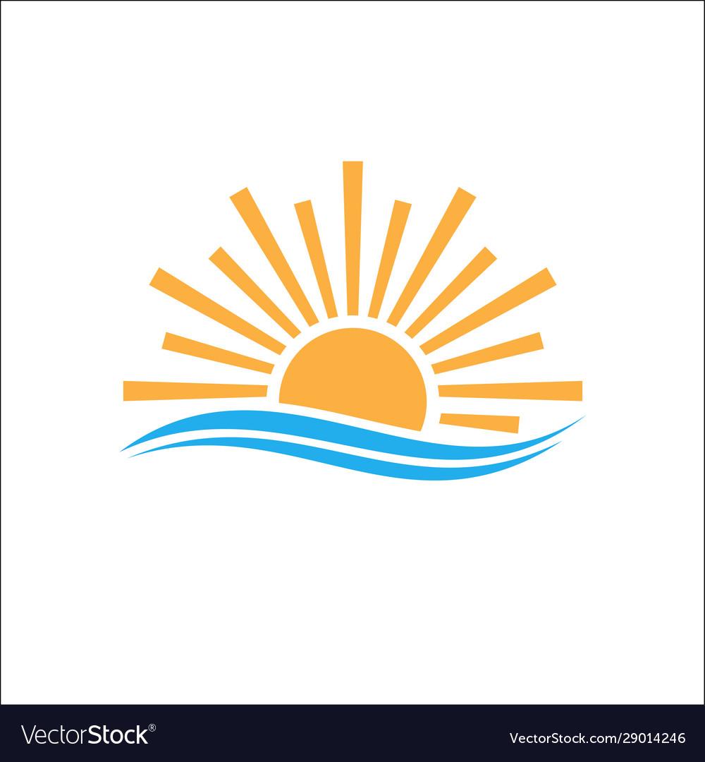 Logo design sunlight in horizon sea