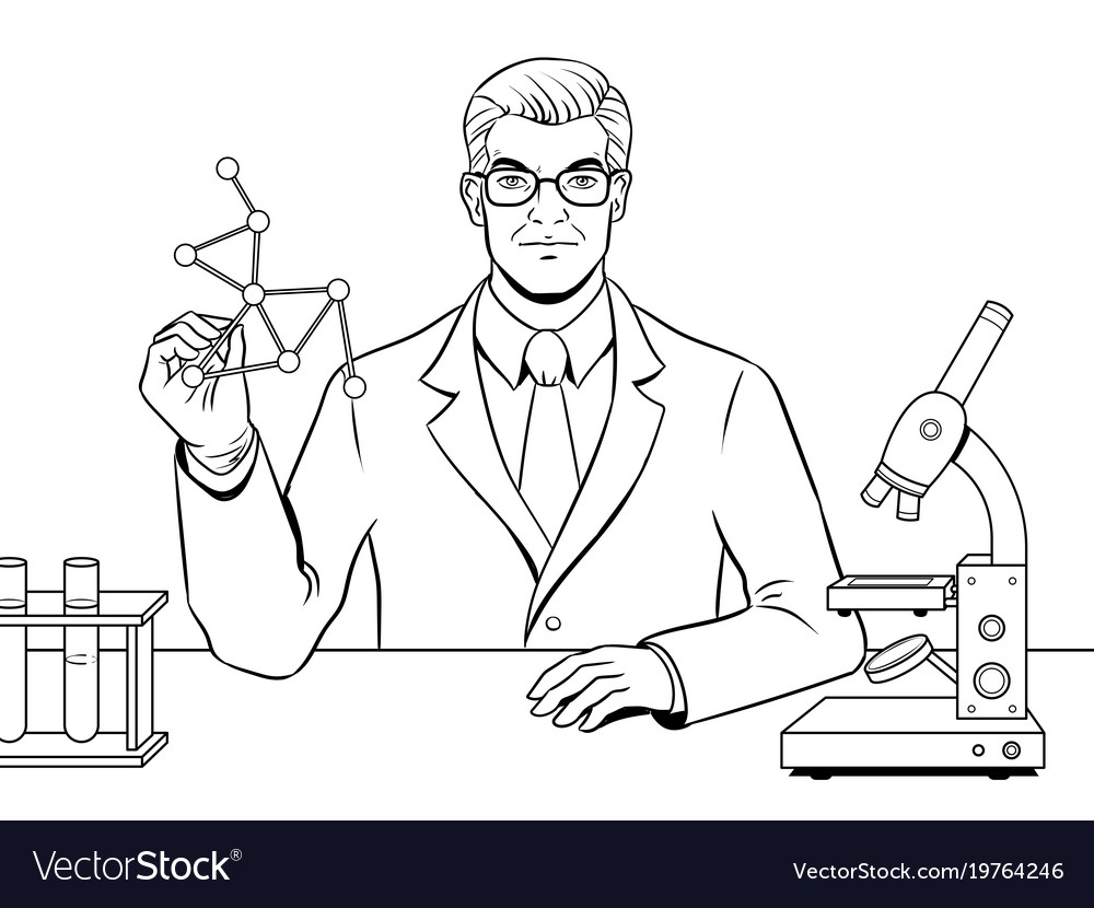 Medical chemist scientist coloring book Royalty Free Vector