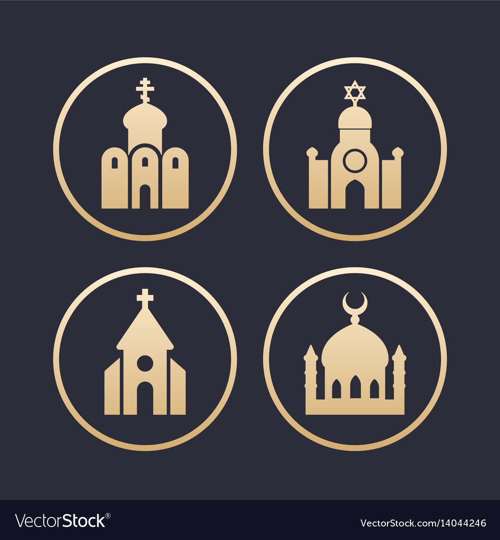 Religion buildings icons set