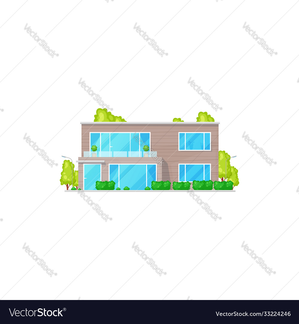Townhouse facade exterior isolated chalet building