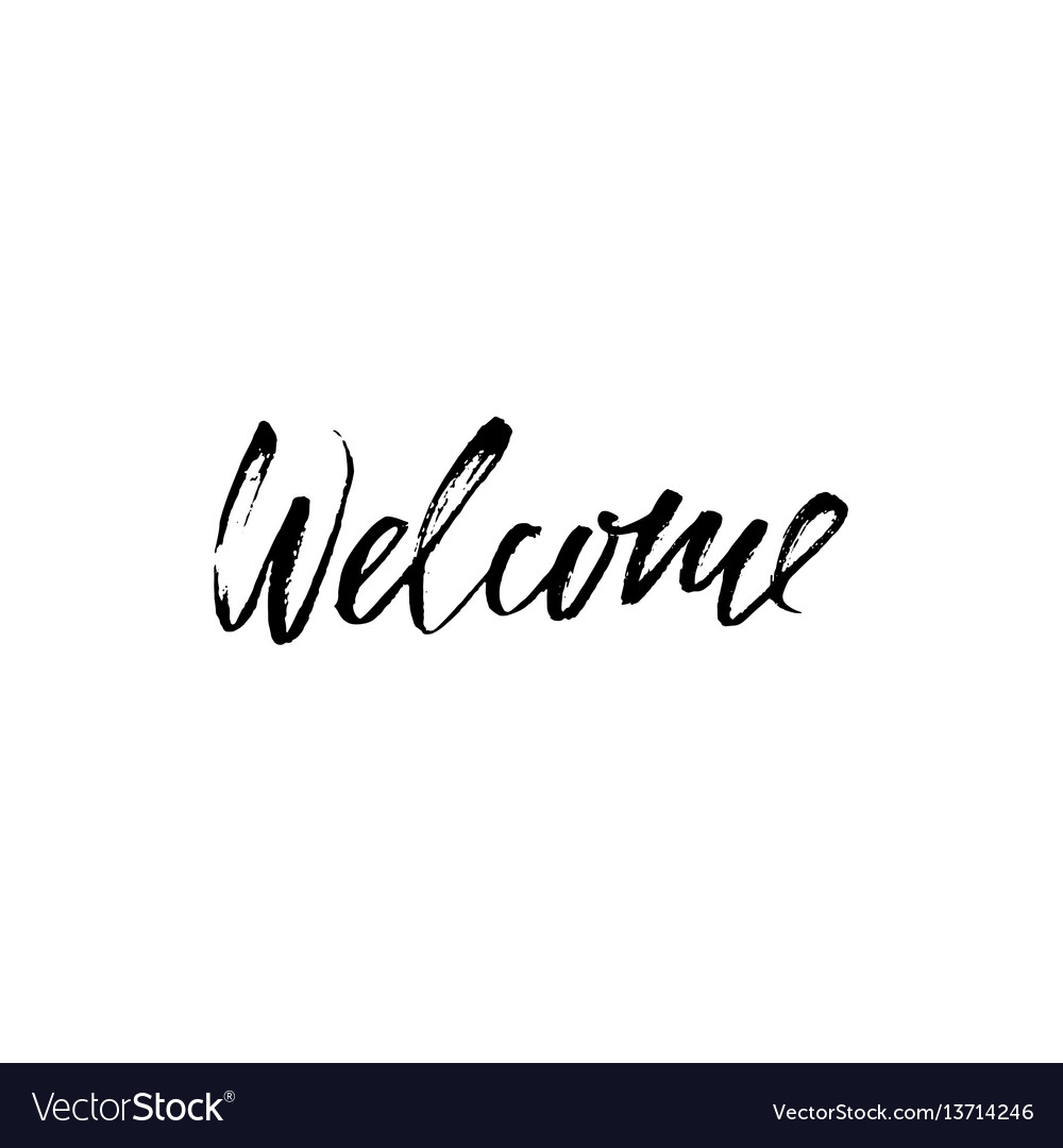 Welcome inscription hand drawn design elements vector image