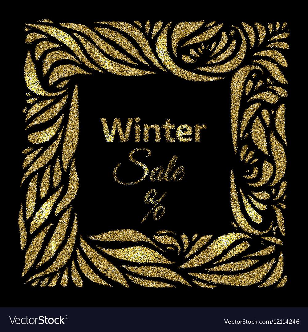 Winter sale gold frame vector image