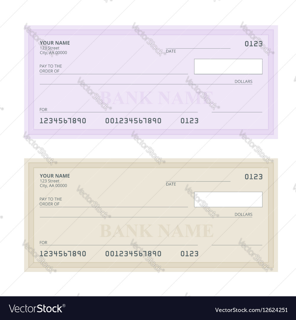 Bank Check with Modern Design Flat
