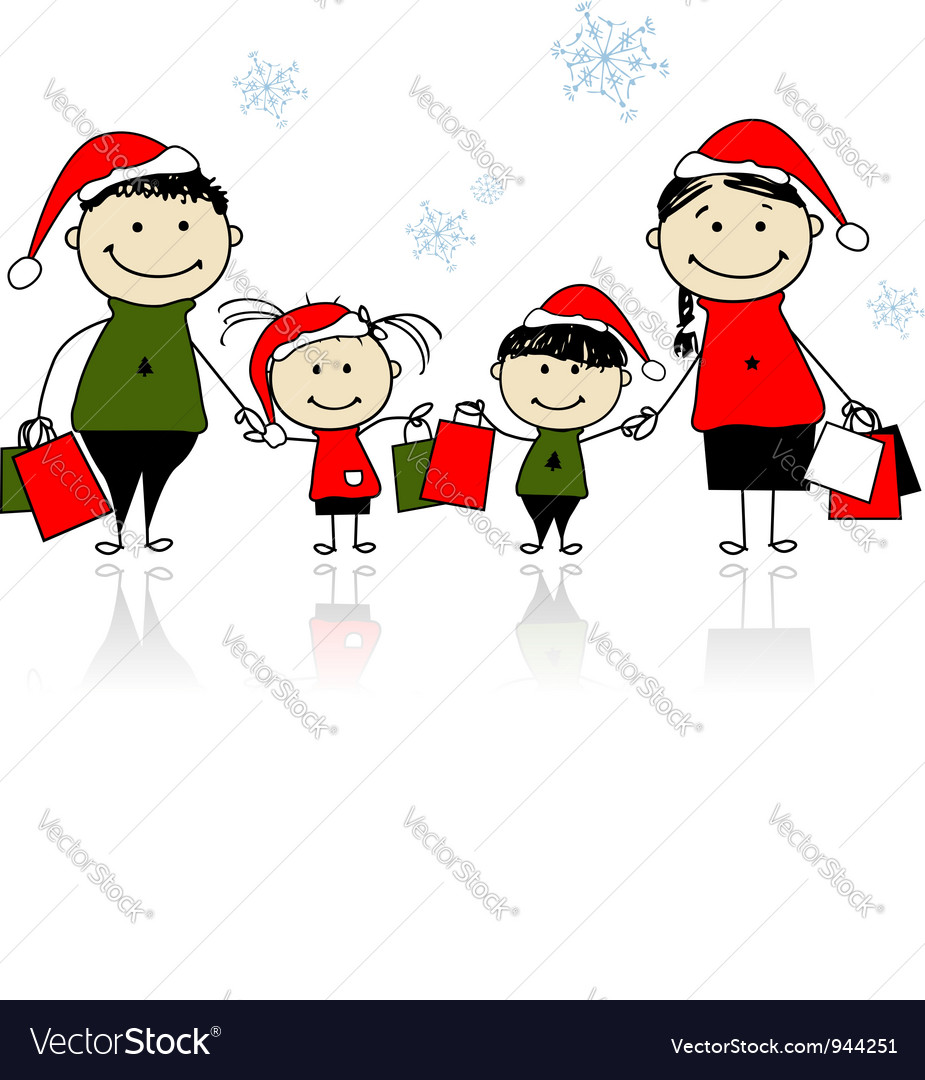Christmas gifts Family with shopping bags