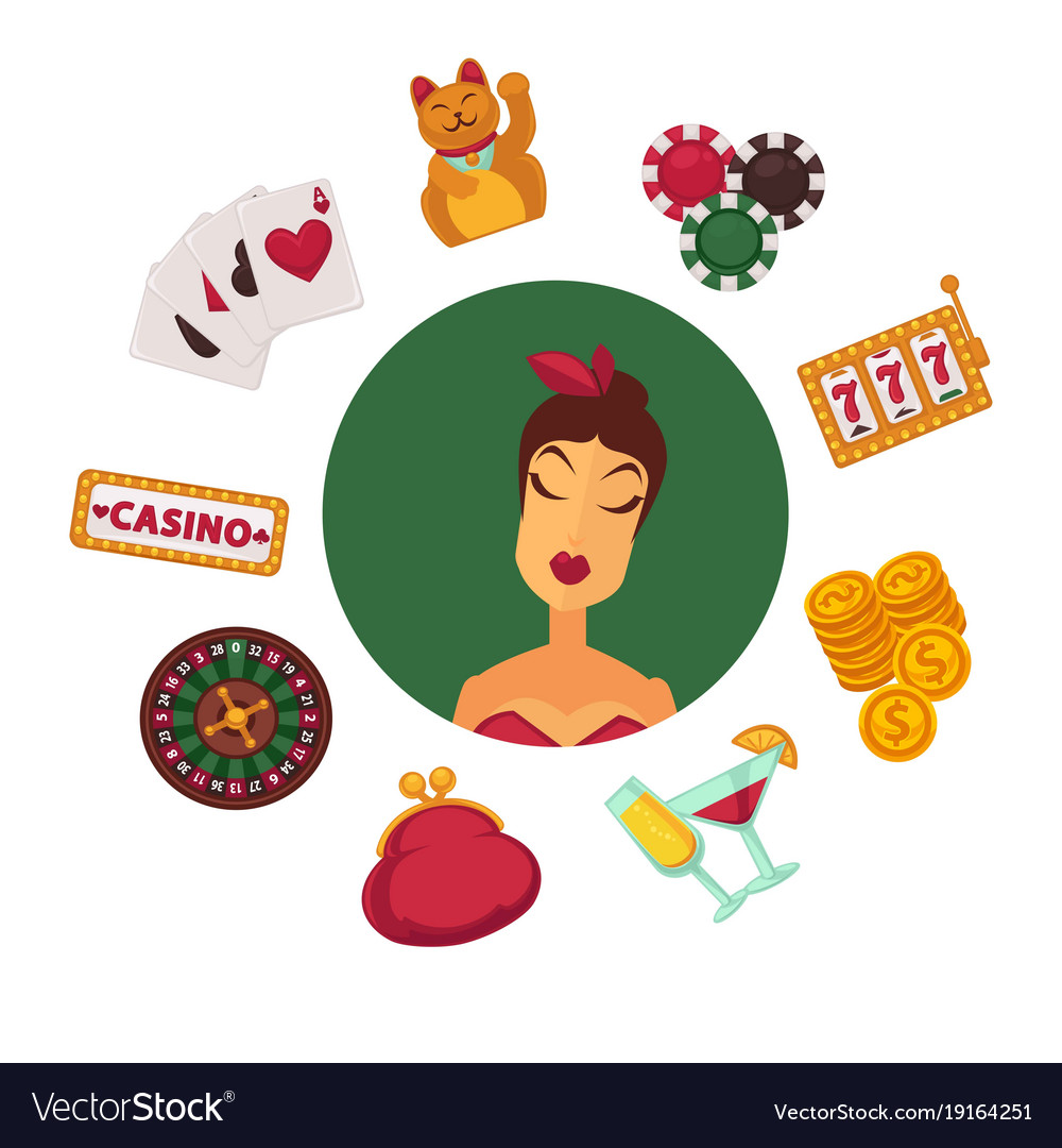 Elegant female player in casino and equipment for