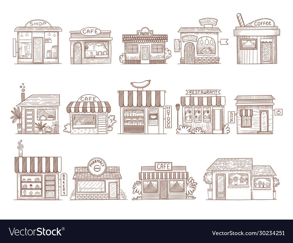 Hand drawn buildings pharmacy shop bar and