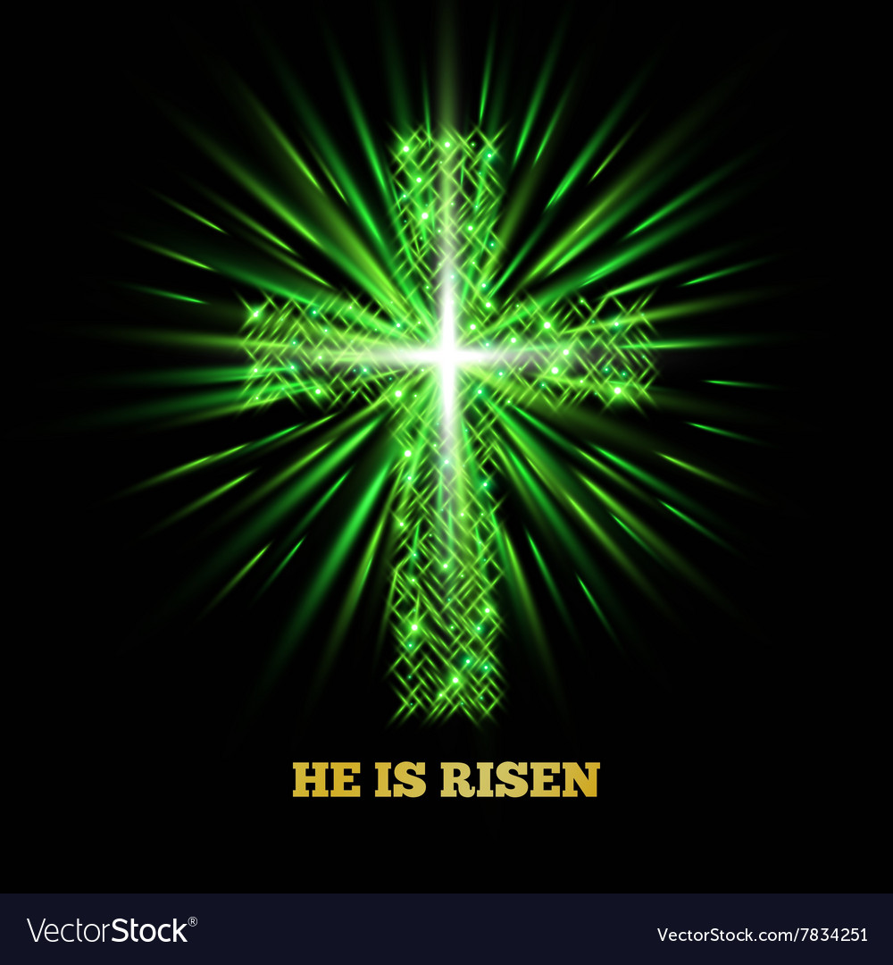 He is risen Shining cross Easter background vector image