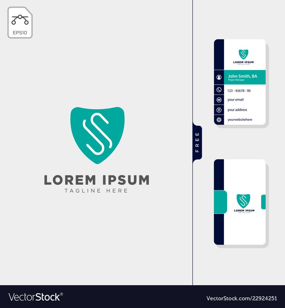 Minimal s logo template free business card design
