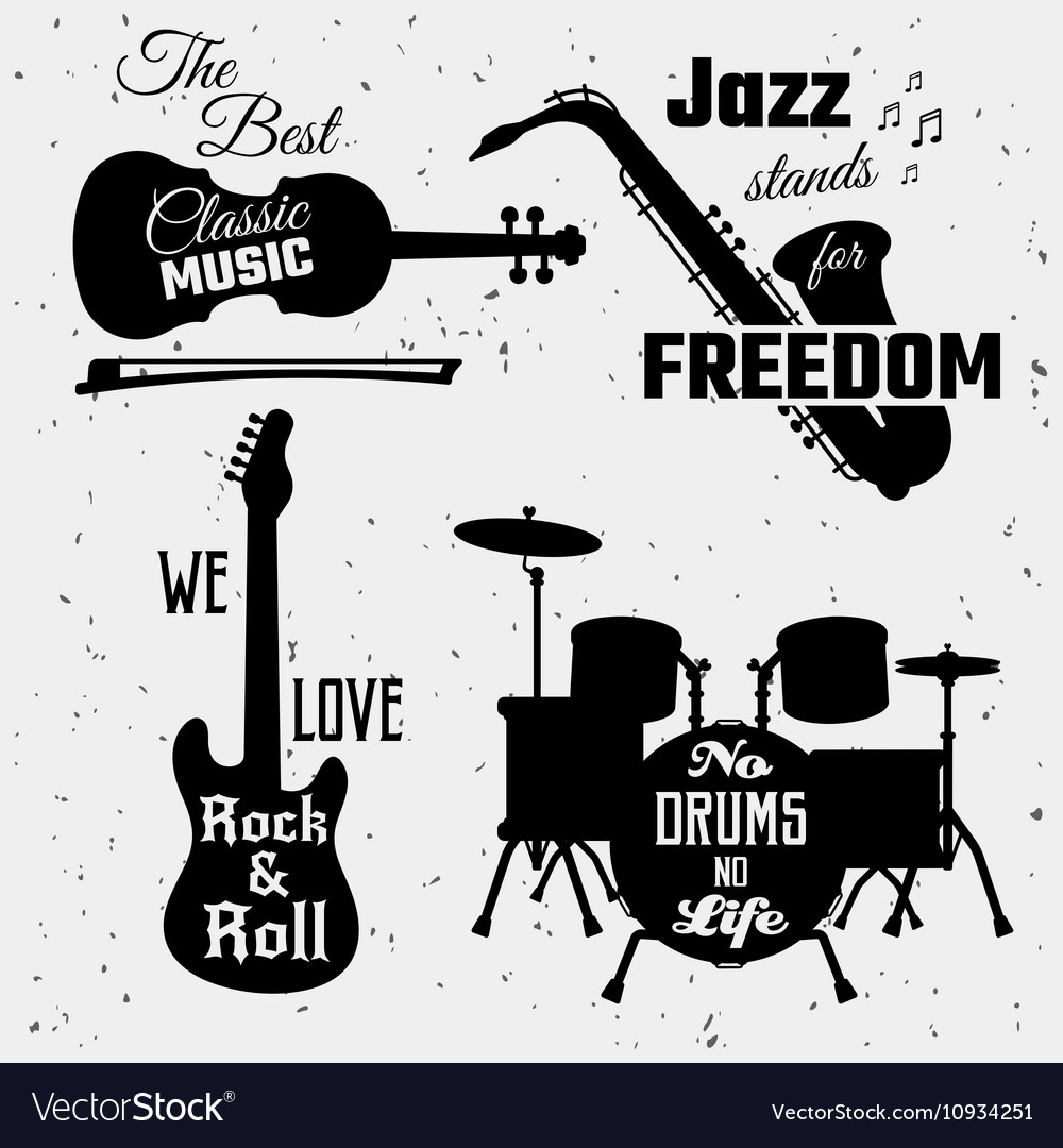 Music Quotes Monochrome Collection Royalty Free Vector Image