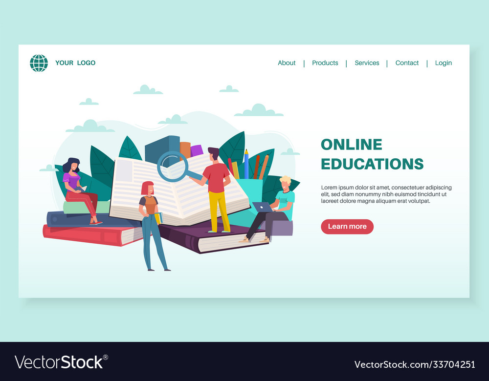 Online education landing page tiny people read