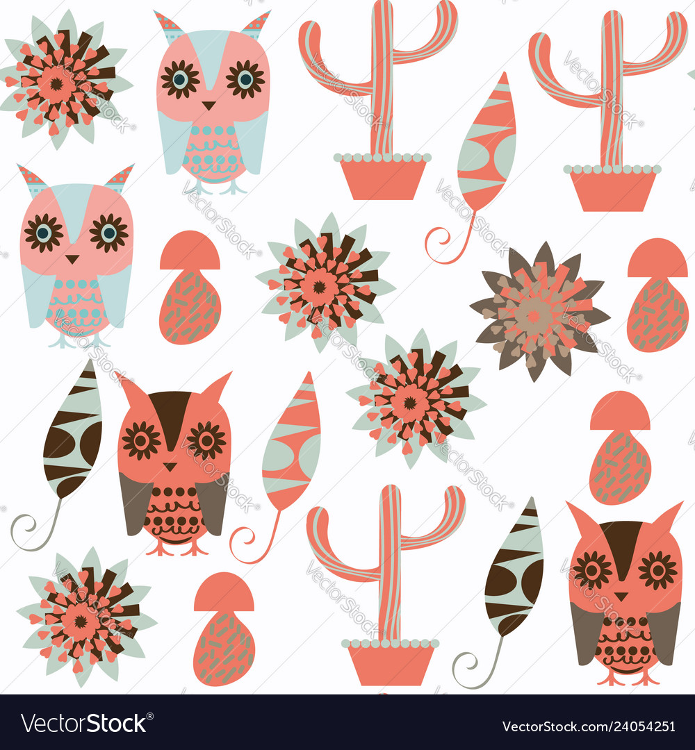 Owls abstract nature animals kids seamless
