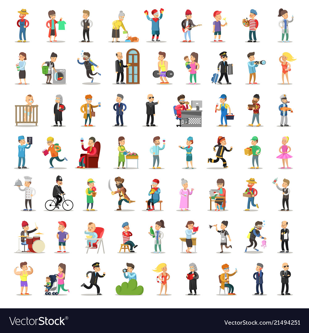 People characters collection cartoon set