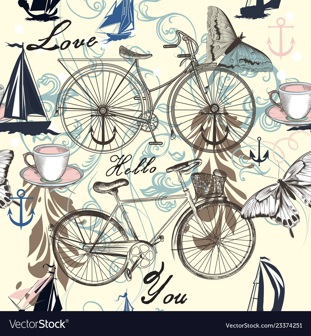 Seamless pattern with bicycle and butterflies
