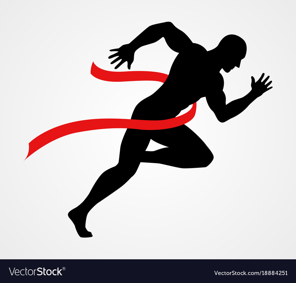 newest 31651 9a6b7 Silhouette of a sprinter at finish line vector image
